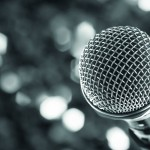close up microphone on night bokeh background abstract